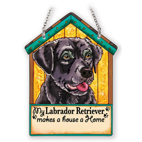Black Labrador Retriever Doghouse Suncatcher