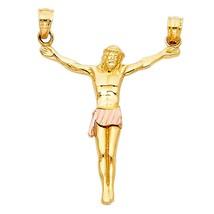 14K Two Tone Gold Jesus Crucifix Religious Pendant - $139.99