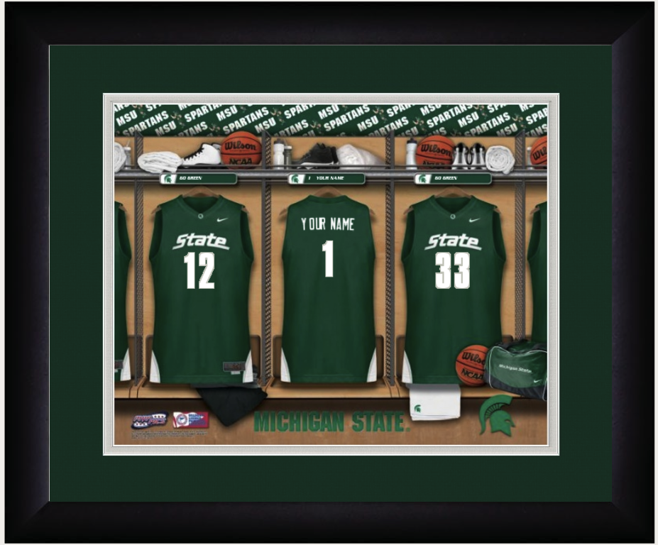 Michigan State Spartans Basketball Personalized Locker Room Print