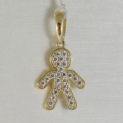 18K YELLOW GOLD BOY CHARM PENDANT SMOOTH LUMINOUS BRIGHT ZIRCONIA MADE IN ITALY
