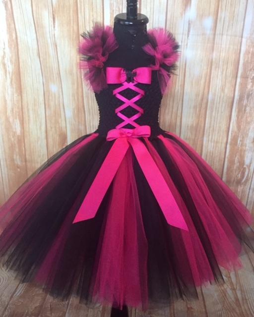 Girls Witch Tutu Costume, Hot Pink & Black, Pink Witch Tutu Dress, Black Witch