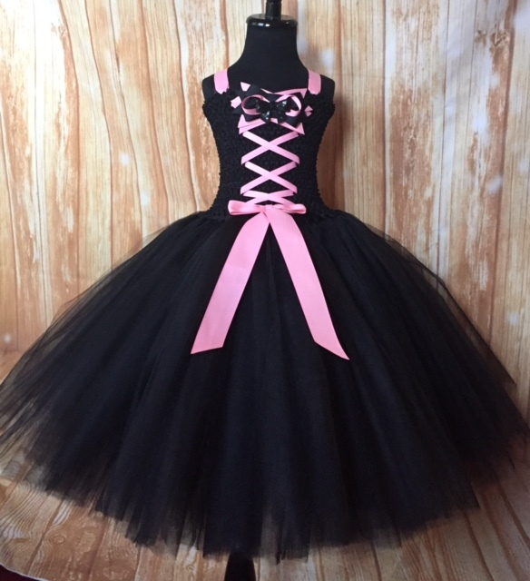Girls Witch Tutu Costume, Pink Witch Tutu Dress, Black Witch Tutu Costume