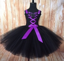Girls Witch Tutu Costume, Purple Witch Tutu Dress, Black Witch Tutu Costume - $40.00+