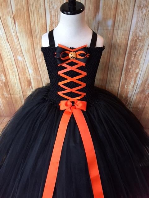 Girls Witch Tutu Costume, Orange & Black Witch Tutu Dress, Black Witch Tutu