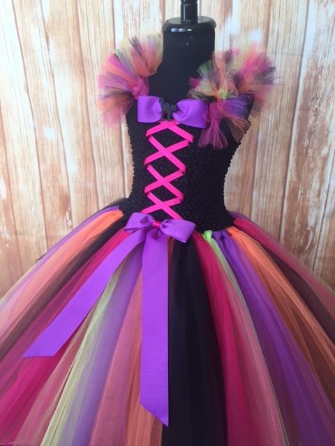 Girls Witch Tutu Costume, Pink Black Green Orange & Purple Witch Tutu Costume