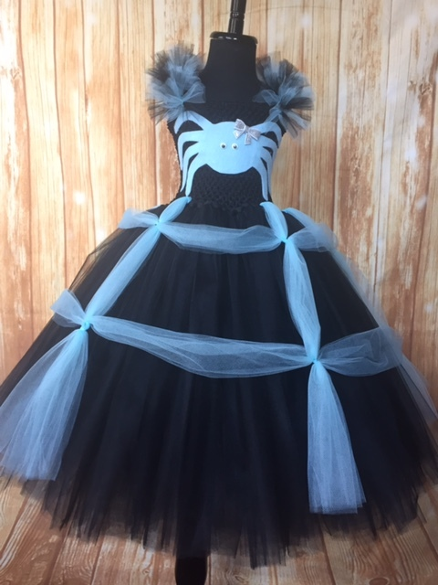 Girls Spider Tutu Costume, Blue Spider Tutu Costume, Spider Witch Costume