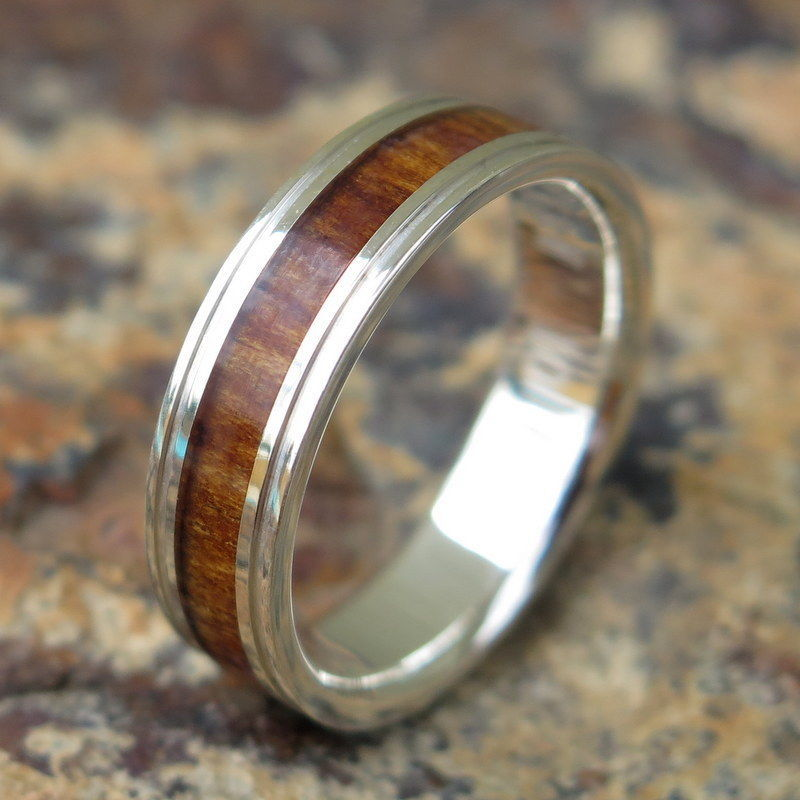 Hawaiian 925 Sterling Silver Koa Wood Dark Inlay Wedding Ring Band 6mm SWR1004