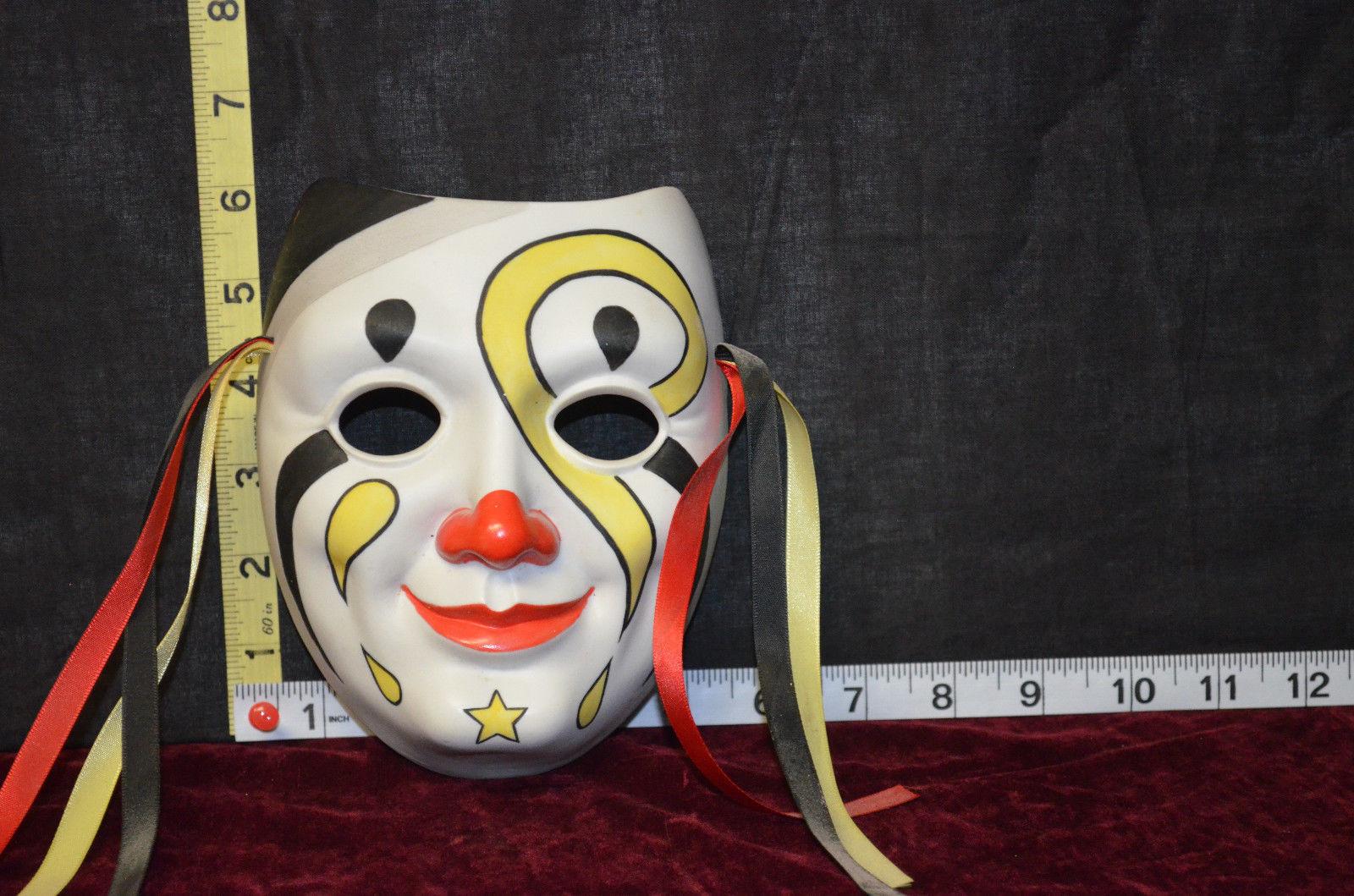 "Unique Art Deco Porcelain two Clowns-Face Mask Wall hangings COLORFUL 6"" x 6"""