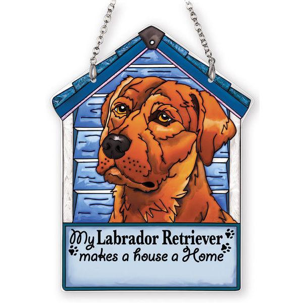 Chocolate Labrador Retriever Doghouse Suncatcher
