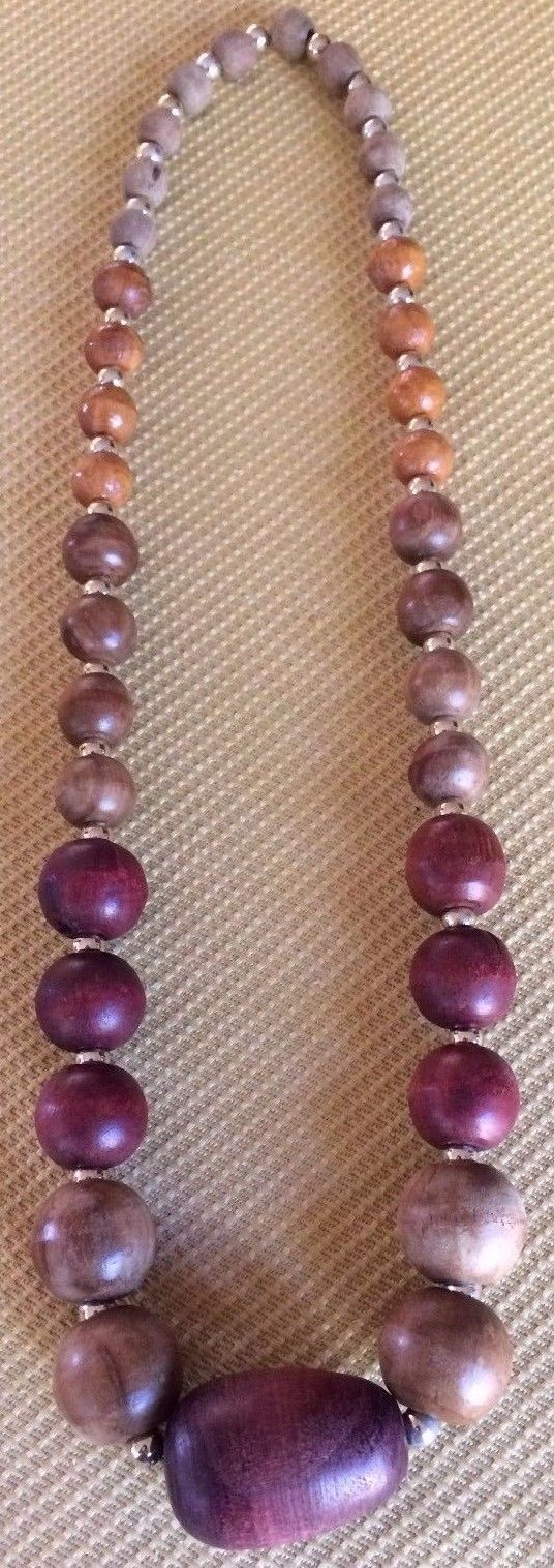 LOVELY UNIQUE VINTAGE/RETRO LARGE ROUND WOOD BEAD SINGLE STRING NECKLACE