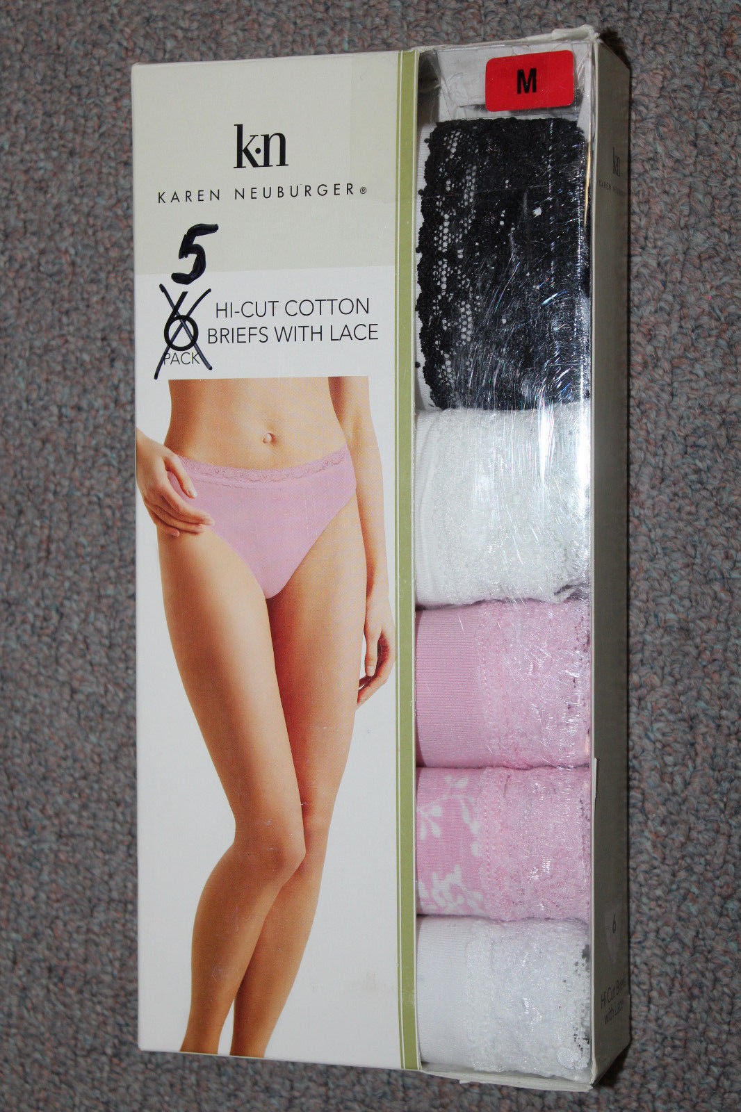 95545e20638  NEW Karen Neuburger 5 pair pack Hi-Cut Briefs with Lace M Medium  1134