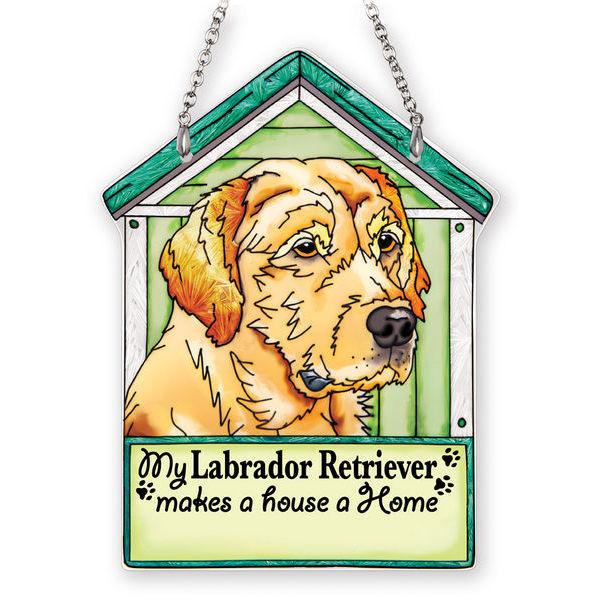 Yellow Labrador Retriever Doghouse Suncatcher