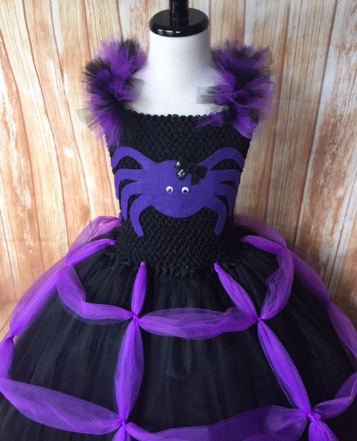 Girls Spider Tutu Costume, Purple Spider Tutu Costume, Spider Witch Costume