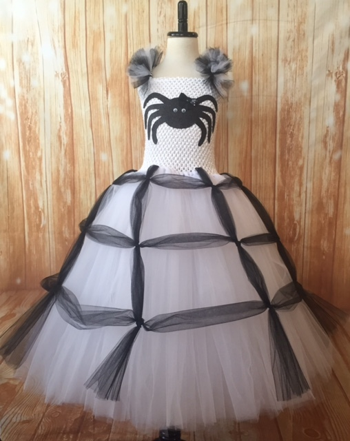 Girls Spider Tutu Costume, White Spider Tutu Costume, Spider Witch Costume