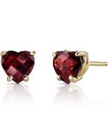 14K Yellow Gold 1.75 Carat Heart Shape Garnet Earrings - $185.99