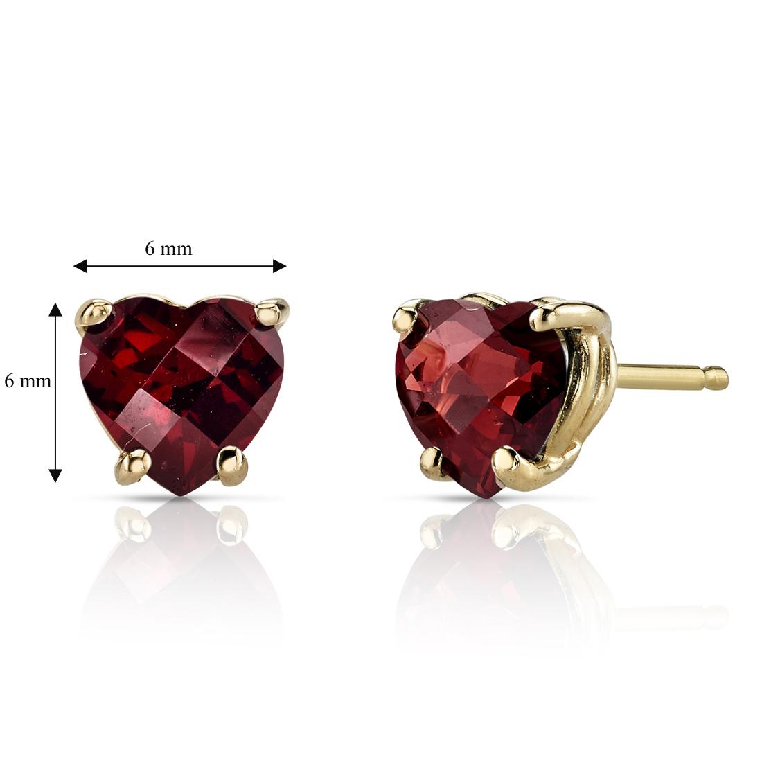 14K Yellow Gold 1.75 Carat Heart Shape Garnet Earrings