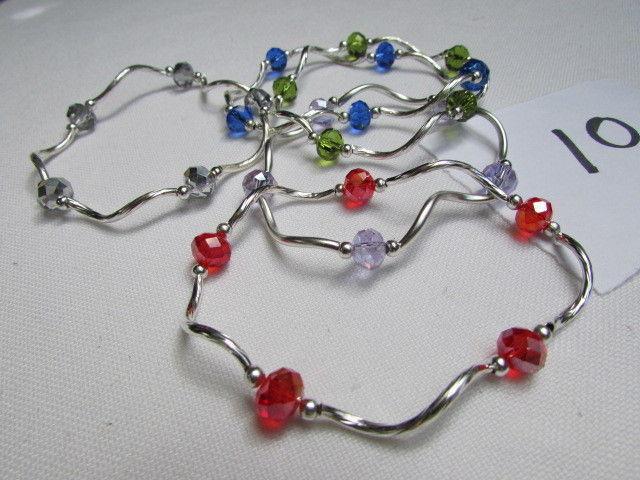 NEW WOMEN GREEN SILVER RED BLUE BEADS FASHION JEWELRY FIVE BANGLES BRACELETS
