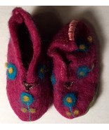 Girl's Size NB Newborn Handmade Purple Floral Designed Moccasins - $1.50