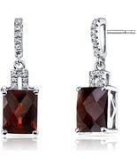14K White Gold 5.50 Carats Garnet Radiant Cut Earrings - $374.99