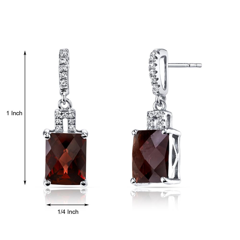 14K White Gold 5.50 Carats Garnet Radiant Cut Earrings