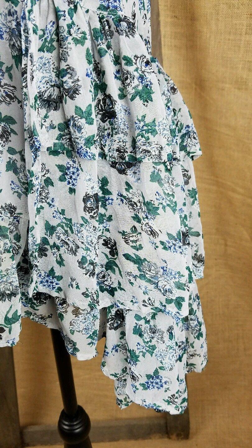 Hazel women's S high neck halter romantic floral shirt asymmetric