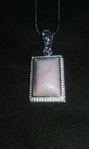 Genuine Natural Pink Opal Gemstone Square Pendant Silver Snake Chain Nec... - $29.99