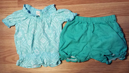 Girl's Size 6-9 M Months Two Pc Blue Children's Place Peasant Top & Blue Shorts - $10.50