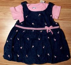 Girl's Size 3-6 M Months 2 Pc Dark Blue Denim Rose Embroidered FG Dress + Top - $10.50