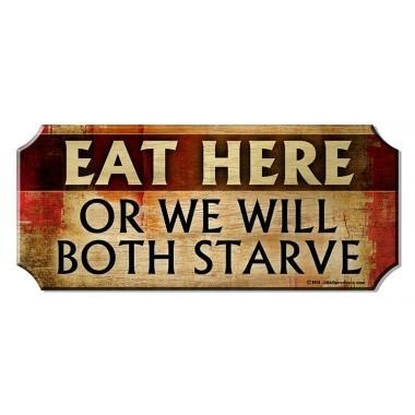 Eat here wood bar sign1