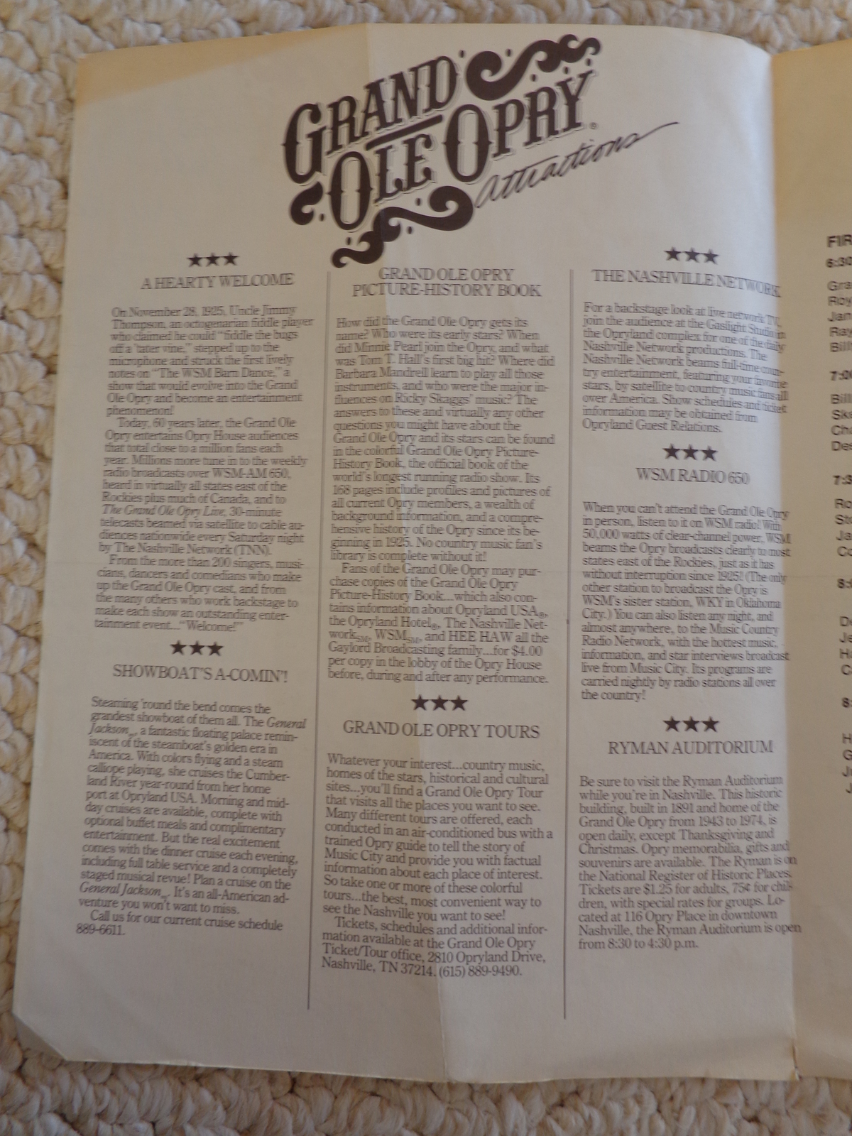 GRAND OLE OPRY COUNTRY 17TH INT'L MUSIC 1988 FAN FAIR PROGRAM (#1790)