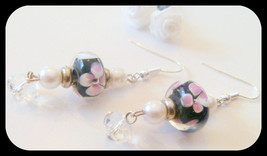 Black with Pink Flower Lampwork and Crystal Beaded Earrings - $9.99