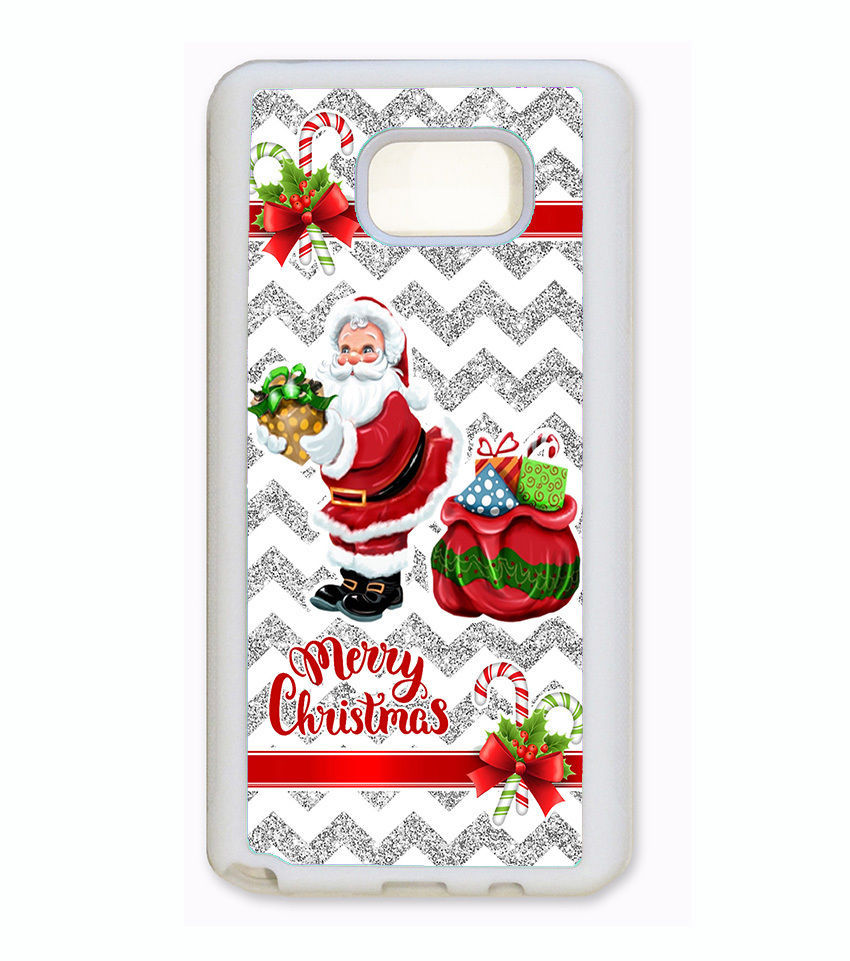 MERRY CHRISTMAS PHONE Case For Samsung Galaxy S7 EDGE S6 NOTE 5 4 SILVER CHEVRON