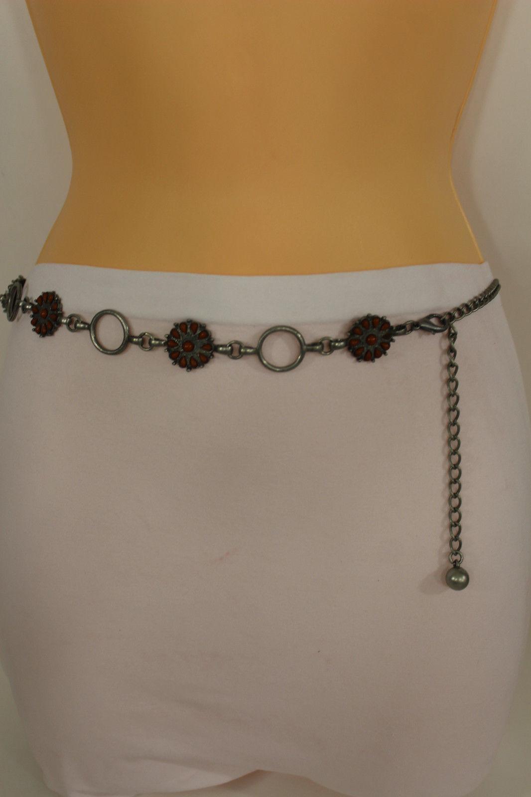 New Women Antique Silver Belt Brown Red Beige Beads Metal Chains Hip Waist S M L