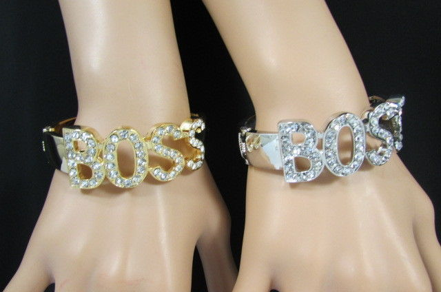 New Women Big BOSS Trendy Cuff Bracelet Fashion Jewelry Rhinestone Gold / Silver