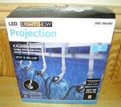 GEMMY Christmas Lights Icy Blue LED Light Show Projection String of 8 New - $28.04