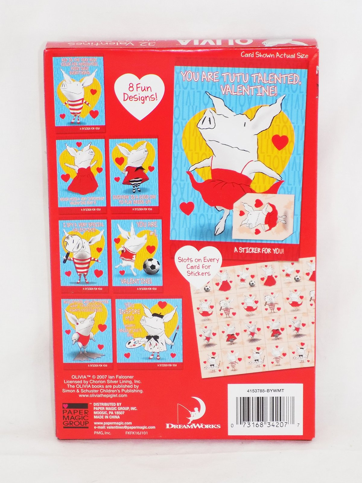 32 Olivia Valentine Day Sharing Cards for Kids with Stickers