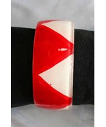 Red & White Painted Clear Plastic Bangle Bracel... - $12.95