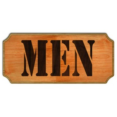 Men wood restroom sign
