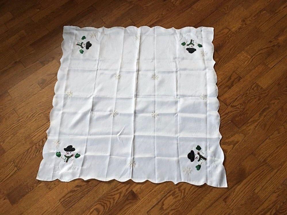 "White Embroidered Tablecloth Snowmen Snowflakes Christmas 34"" square"