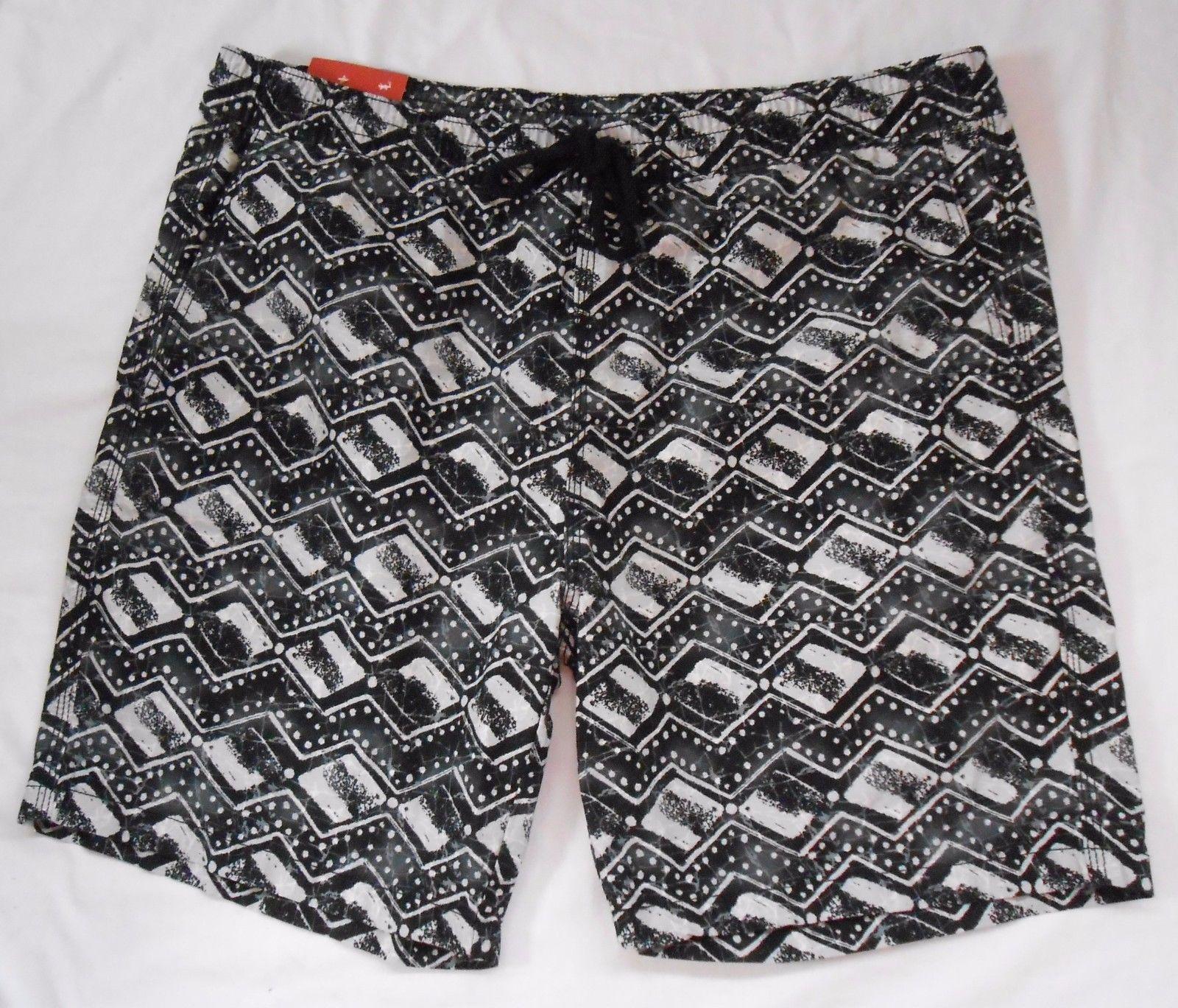 Mossimo NWT Mens Swim Trunks L Black White Abstract Geometric Shorts