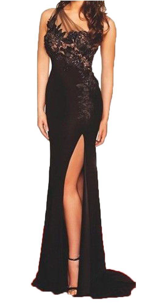 Fanmu One Shoulder High Slit Long Black Formal Dress Prom Dresses Black US 16