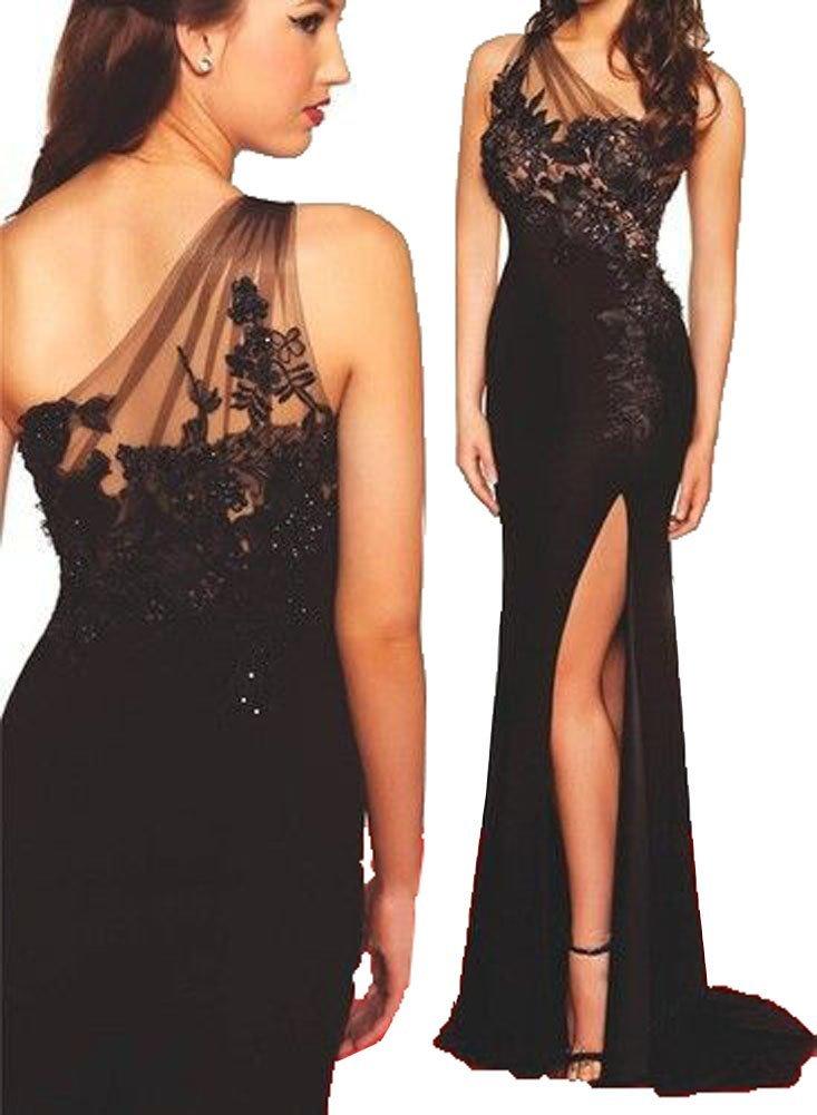 Fanmu One Shoulder High Slit Long Black Formal Dress Prom Dresses Black US 2