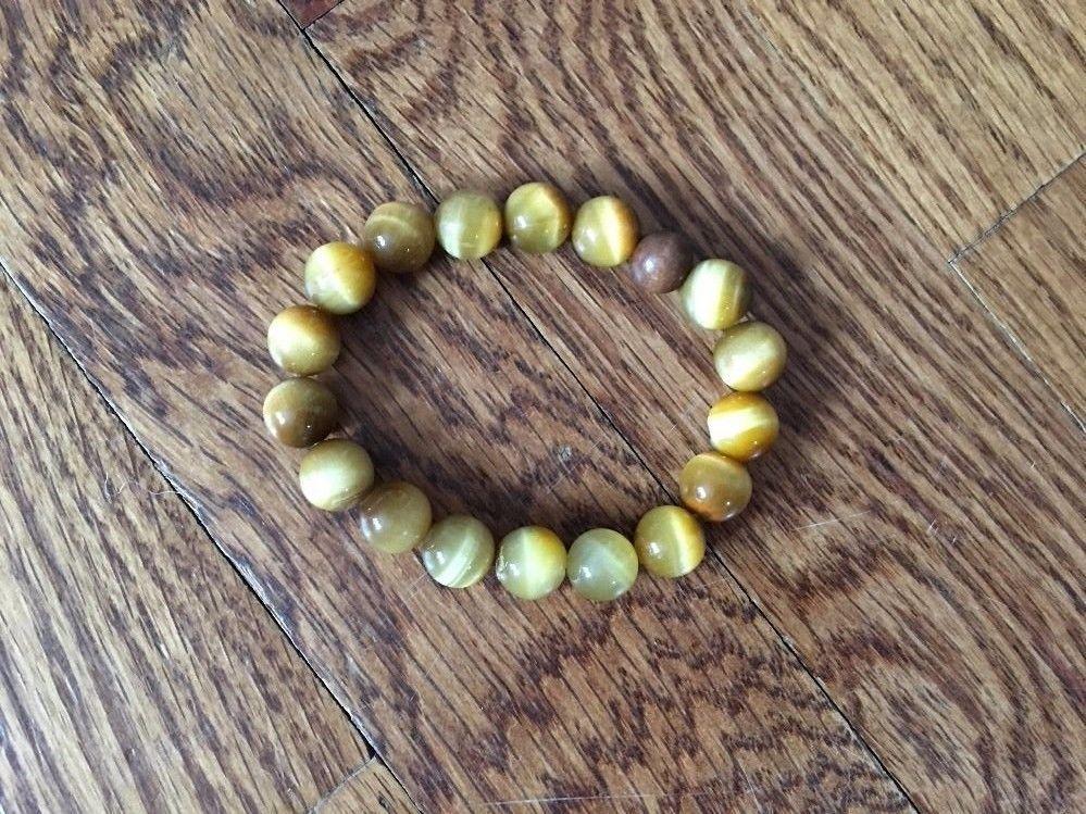 Amber Colored Glass Bead Stretch Bracelet Beautiful
