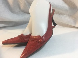 Gianni Bini Ladies Leather Heels / Sling Backs US Size 6 1/2 M  Red Dist... - $12.19