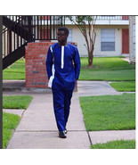 Blue & White Men's Long-sleeve Shirt and Trousers African Clothing Men's... - $84.95