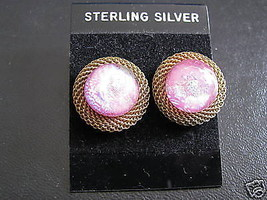 Artist made  Fused PINK  Glass Post Earrings Gold Mesh Artist  Katya - $23.75