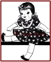 """Vintage Doll Pattern for 15"""" Cloth Doll Wearing Dress - $6.99"""