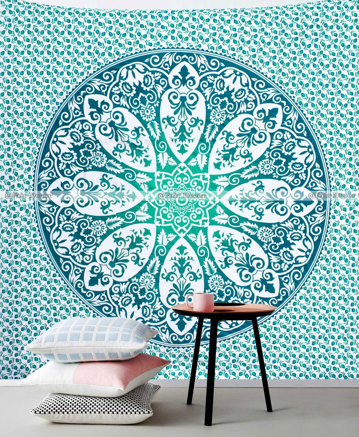 Dark Light Green Ombre Mandala Boho Hippie Wall Hanging Wall Decor Tapestry