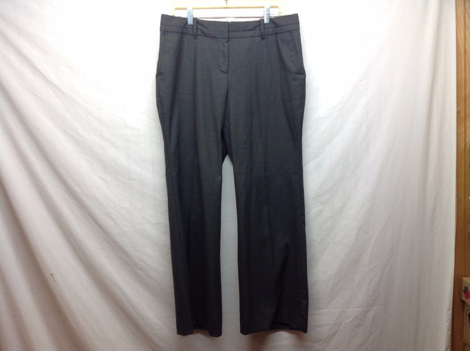 Perry Ellis Dark Gray Portfolio Plaid Casual Pants Sz 36 34