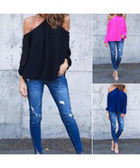 Women Halter Off-shoulder Long Sleeve Top Blous... - $5.06 - $25.06